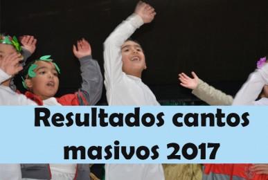 Resultados Cantos Masivos 2017 Pre Kinder a 2 básico